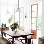 Dining Room, Off White Floor Tiles, Wooden Table, Wooden Bench, Chairs, White Walls, Glass Doors, White Pendant