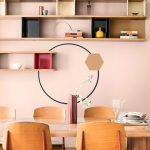 Dining Room, Pink Wall, Floating Shelves, Wooden Chair, Black Pendant