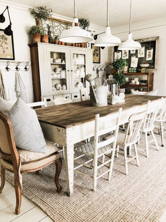 dining room, white wooden floor, rug, wooden table, white wooden chairs, white wall, white ceiling, white pendant, white wooden cabinet, wooden shelves