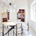 Dining Room, White Wooden Floor, White Round Dining Table, White Chairs, White Paper Pendant Chandelier
