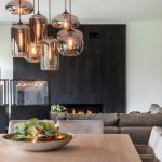 Dining Room, Wooden Square Table, Grey Chairs, Glass Pendants With Incandescent Lamps