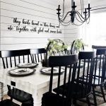 Farmhouse Dining Room, Rug, White Wooden Table, Black Wooden Chairs, White Wooden Planks Wall, Black Metal Chandelier