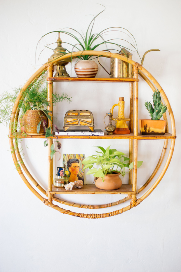 floating round rattan shelves