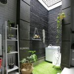 Garden, Grass, Washing Machine, Black Wall, Vines, White Open Brick Wall, White Floor Tiles, White Rack