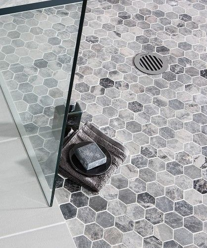 grey honeycomb floor tiles on the bathroom
