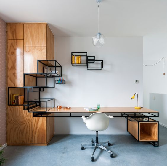 home office area, wooden cupboard with wire glass shelves, floating wire shelevs with glass, pendant, white modern office chair