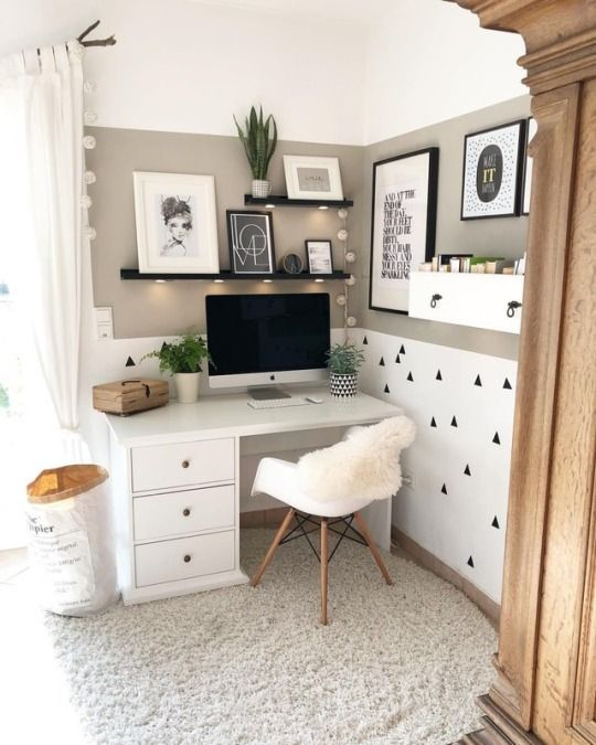 home office corner, grey rug, white beige painted wall, white table with drawers, black floating shelves, white floating box for shelves, home decorations, white modern chair