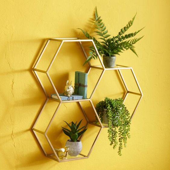 honeycomb framed of metal for floating shelves