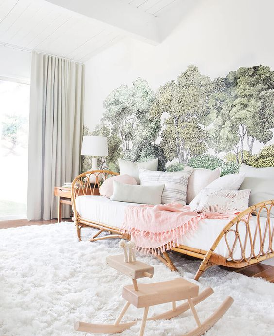 kids bedrom, wooden floor, rattan bed, trees wallpaper, white wooden ceiling, grey curtain, wooden side table, wooden toy