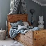 Kids Bedroom, Brown Floor, Wooden Bed, Light Grey Wall, White Wooden Ceiling, Grey Canopy, Rattan Basket, Stool
