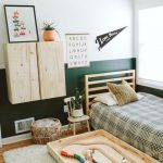 Kids Bedroom, Wooden Floor, Grey Rug, Green White Wall, Floating Wooden Cabinet, Wooden Platform, Wooden Chair, Ratta Basket, Wooden Toy