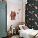 Kids Bedroom, Wooden Floor, Pink Wall, White Ceiling, Flowery Wallpaper, Green Cupboard, Rattan Bed, White Small Stool