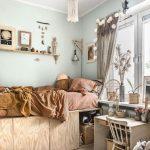 Kids Bedroom, Wooden Floor, Wooden Bed Platform With Storage Under, Wooden Table, Wooden Chair, Rattan Basket, Light Green Wall, Fringe Chandelier