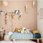 Kids Bedroomm, Brown Wall, Wooden Floor, Wooden Flat Bed Platform, Rattan Basket, Bamboo Wooden Table, Wall Decoration