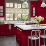 Kitchen, Grey Wooden Floor, Red Island With White Marble Top, White Stool, Red Cabinet, White Counter Top, White Backsplash, Grey Wall, White Pendants