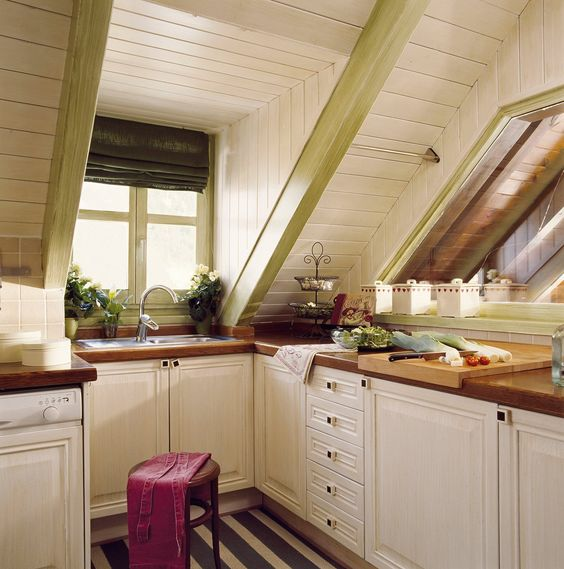 kitchen, stripe floor, white cabinet, white planks wall, windwos, wooden kitchen top