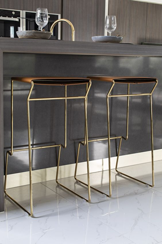 kitchen, white floor, brown thin seating, golden metal legs