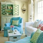 Living Room, Beige Rug, White Sofa, Blue Chairs, White Wall, Blue Cabinet, White Blue Coffee Table