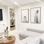 Living Room, White Floor, White Sofa, White Wall, White Accent Wall, Wooden Built In Shelves