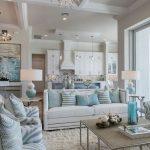 Living Room, White Rug, Coffee Table, White Sofa, White Blue Chairs, White Wall, White Coferred Ceiling