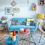 Living Room, Wooden Floor, Grey Blue Rug, Blue Low Tray For Coffee Table, Blue Wall, Blue Sofa, Yellow Lamp, Colorful Things, Rattan Chair