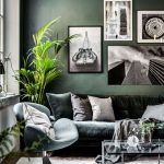 Living Room, Wooden Floor, Grey Velvet Rug, Dark Green Sofa, Green Chair, Plant, Coffee Table
