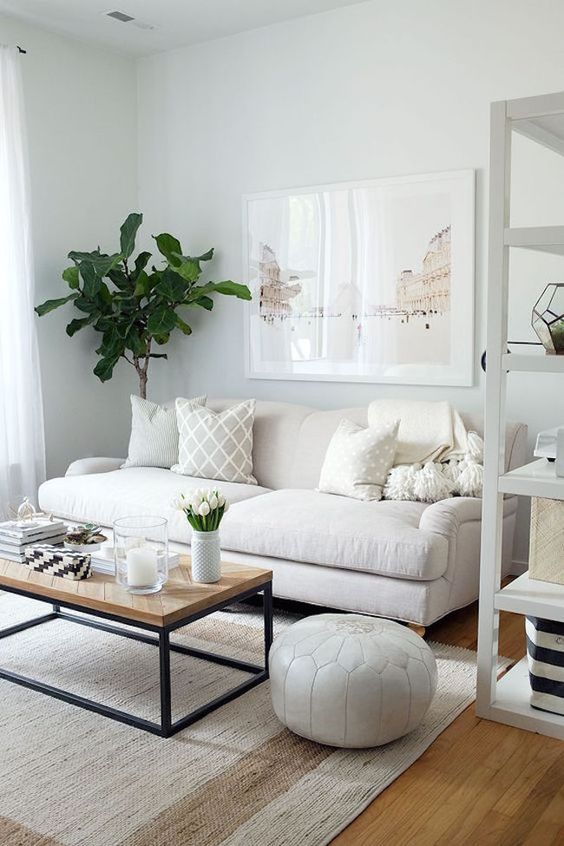living room, wooden floor, rug, white sofa, white leather ottoman, white wall, white ceiling, white shelves, wooden top coffee table
