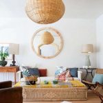 Living Room, Wooden Floor, White Wall, White Sofa, Large Rectangular Rattan Box With Yellow Cushion, Rattan Chairs, Wooden Table, Leather Sofa, Rattan Pendant, Table Lamps
