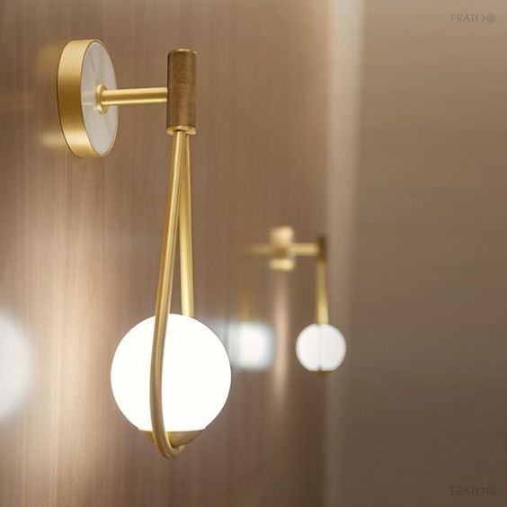 modern sconces with golden support, golden stalk, white buld