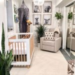Nursery, Mirror Door, Grey Floor, Beige Rug, Beige Chair, Off White Wall, Animals' Pictures, Stuffedgiraffe, White Wooden Crib, Grey Tent