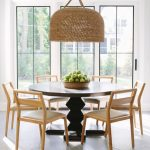 Rattan Covered Pendant On Dinig Room With Hexagon Floor Tiles, White Wall, Large Glass Window, Black Round Table, Brown Dining Chairs