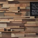 Reclaimed Woods As Accent Wall On Half Bottom Wall, Wooden Table, White Wooden Chairs, Pendant
