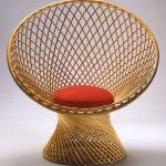 Round Rattan Woven Chair With Back, Red Cushion