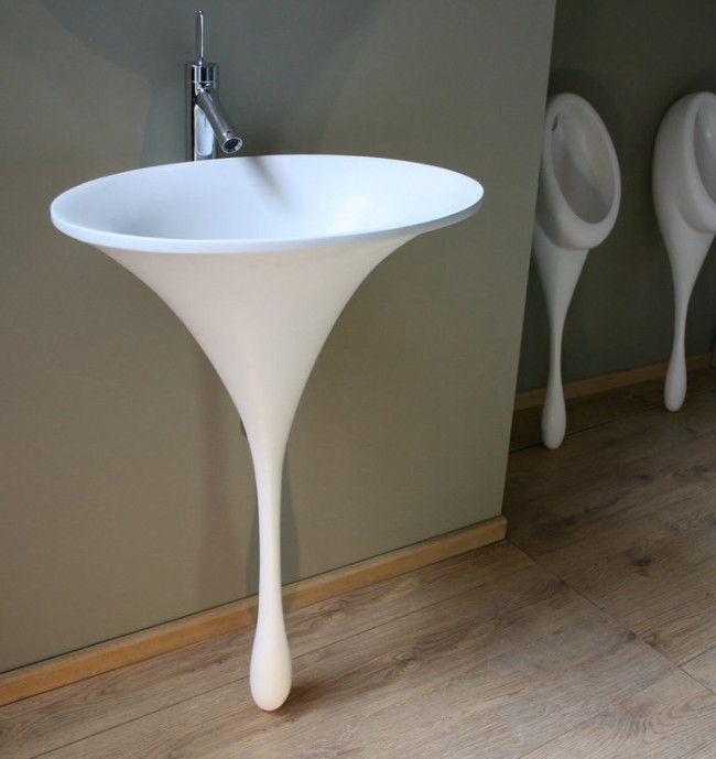 round white droplets shaped sink with silver faucet