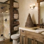Rustic Bathroom Vanities With Tops Wooden Shelves Wall Mirror Rustic Faucet Stone And Wood Flooring Glass Shower Doors Shower Head Travetine Slab Countertop