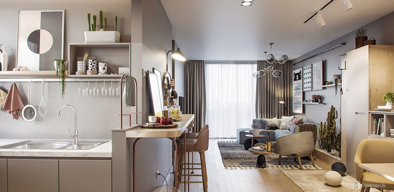 small apartment, wooden floor, wooden island on the living room, wooden stools, modern sofas on living room, rug, grey wall, modern kitchen with rails on the wall, modern pendant