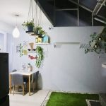 Small Garden With Pebbles, Hung Plants, Carbon Glass Sloping Ceiling, Dining Table Set, Pendant