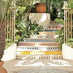 Stairs With Colorful Ties, Soft And Light Beige Tiles