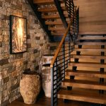 Steel Stair Detail Stone Wall Rustic Decoration Wooden Steps Steel Railing Wooden Cap Wooden Floor Wall Decoration Wooden Wall