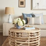 Sturdy Round Rattan Coffee Table With Rattan Woven Top, Rattan Rug, Brown Sofam Brown End Side, Rattan Cover Table Lamp, White Wall