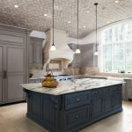 Unique Ceiling Grey Cabinets Range Hood Backsplash Glass Windows Pendant Lamps Island Stovetop Sink Oven Granite Countertops