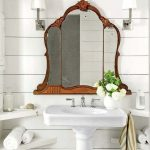 Vintage Mirror, White Sink, White Wooden Plank, White Sconce, White Corner Floating Shelves, White Wooden Ceiling