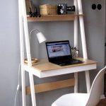 White And Brown Wooden Ladder Shevles Table, White Mid Century Modern Chair, Wooden Herringbone Floor, Lightt Grey Wall