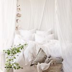White Boho Bedroom, Wooden Floor, Rug, White Bedding, White Blanket, White Curtain, Basket