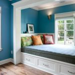 Window Nook, Bed, White Platform With Drawers, Blue Wall, White Wooden Moldign Wall, Windows