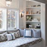 Window Nook, White Bench, Cushion, White Wall, Sconces, Pendant, Built In Shelves Inside