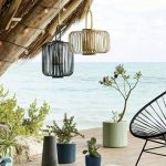 Wooden Deck Ner The Beach, Candles, Candles On Rattan Cover Pendant