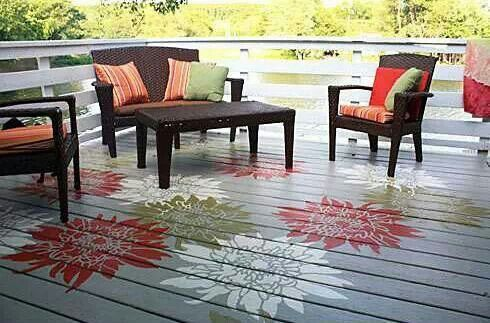 wooden deck with white red green painted chrysanthemum flowers painted