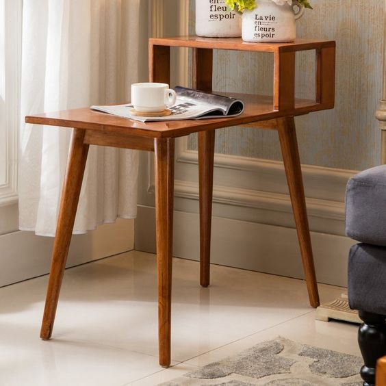 wooden end table with sleek legs, two level of height