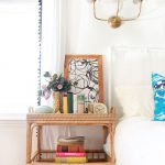 Wooden Rattan Bedside Shelves